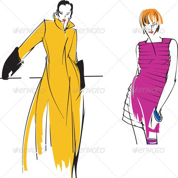 Two Yellow Purple Fashion Girl. Drawing.