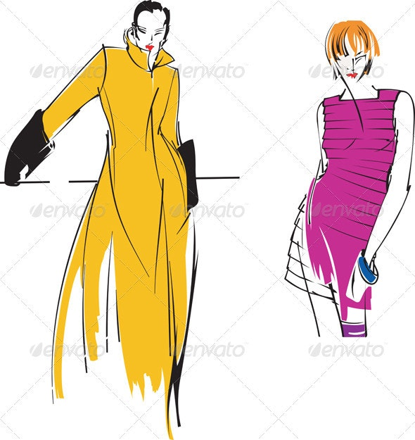 Two Yellow Purple Fashion Girl. Drawing. - People Characters