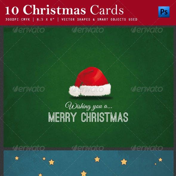 10 Christmas Cards PSD