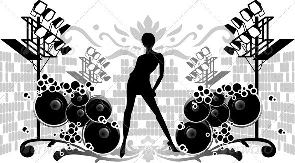Black Silhouette Girl, Projectors and Sounds - People Characters