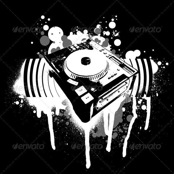 Graffiti Black and White Turntable. - Miscellaneous Conceptual