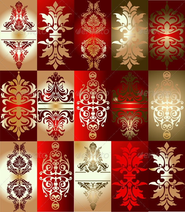 Red Gold Various Elements Ornament - Abstract Conceptual