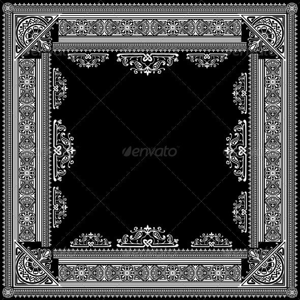 One Color Vector High Ornate Title Frame and Patte - Abstract Conceptual