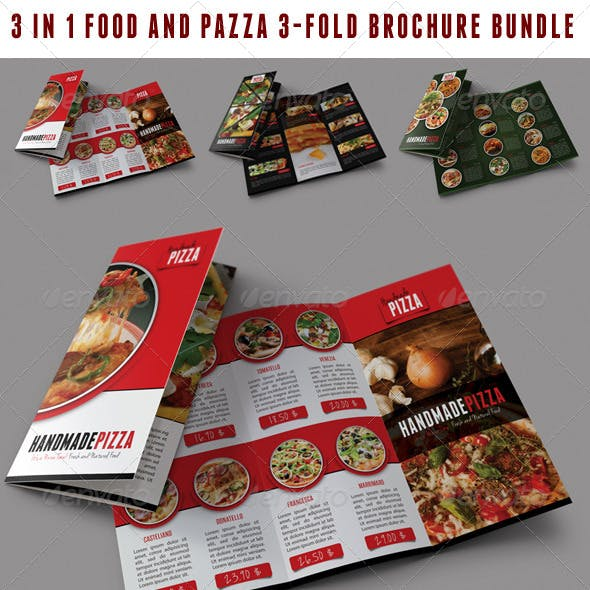 3 in 1 Food And Pizza 3-Fold Brochure Bundle 01