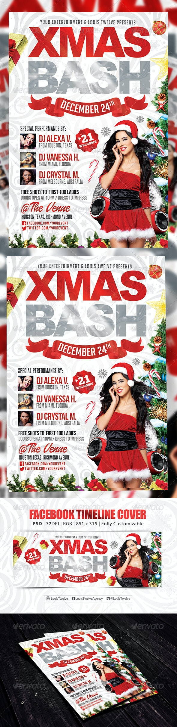 Xmas Bash 2   Flyer + FB Cover - Holidays Events