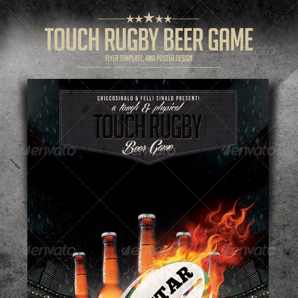 Touch Rugby Beer Game Flyer