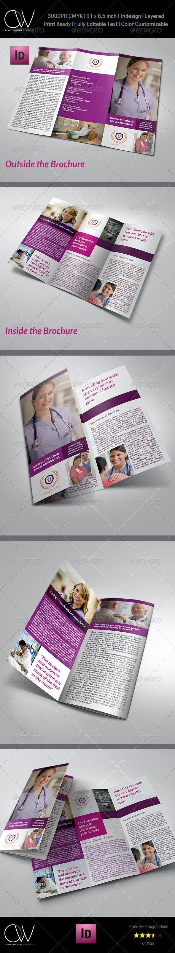 Hospital Tri-Fold Brochure Template - Brochures Print Templates