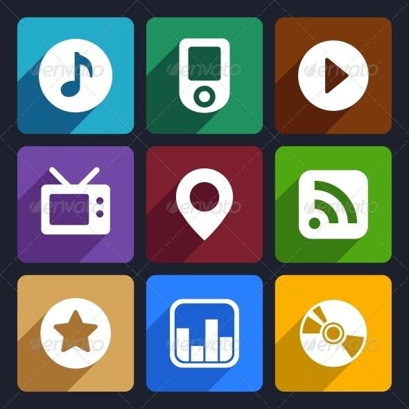 Multimedia Flat Icons Set  1