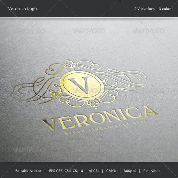 Veronica Letter Crest  Logo