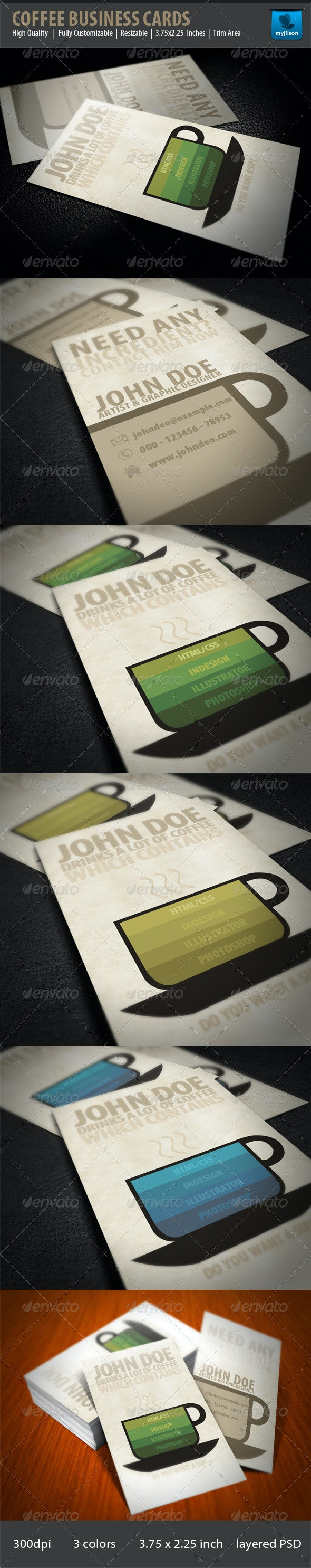 Creative Coffee Business Card - Industry Specific Business Cards