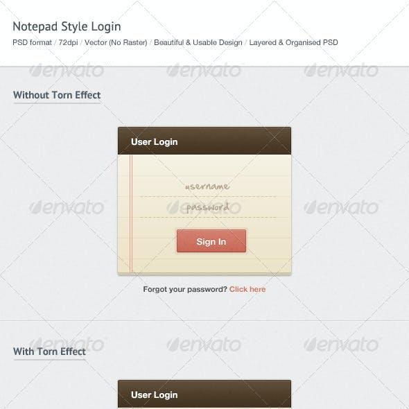 Notepad Style Login