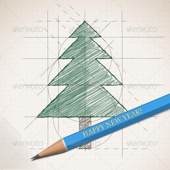 Sketch Drawing of Christmas Background - Christmas Seasons/Holidays