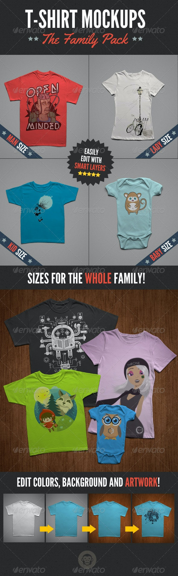 T-Shirt Mock-Ups - Family Pack - T-shirts Apparel