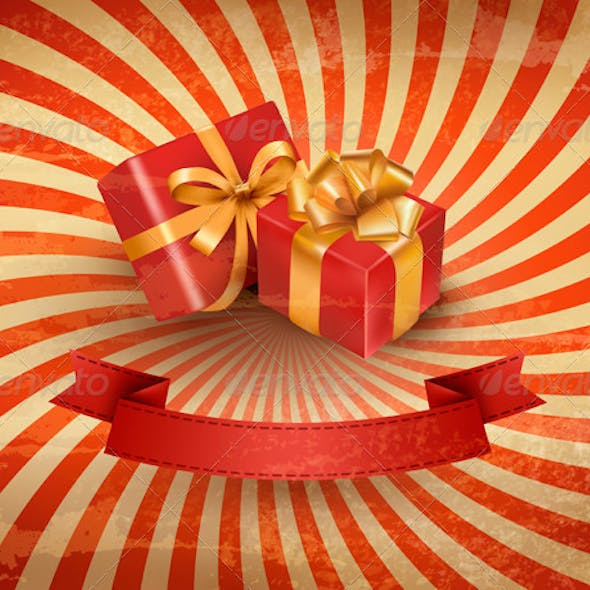 Vintage Holiday Background with Two Red Gift Boxes