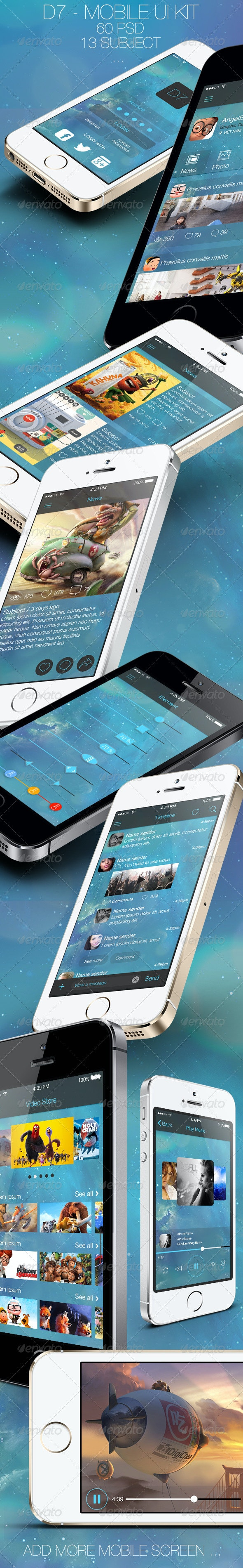 D7 - Mobile UI Kit - User Interfaces Web Elements