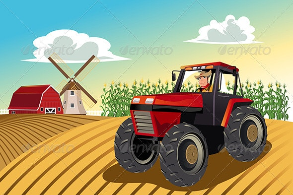 Farmer Riding a Tractor - People Characters