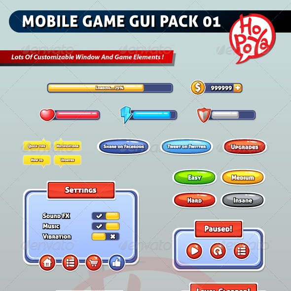 Mobile Game GUI Pack 01