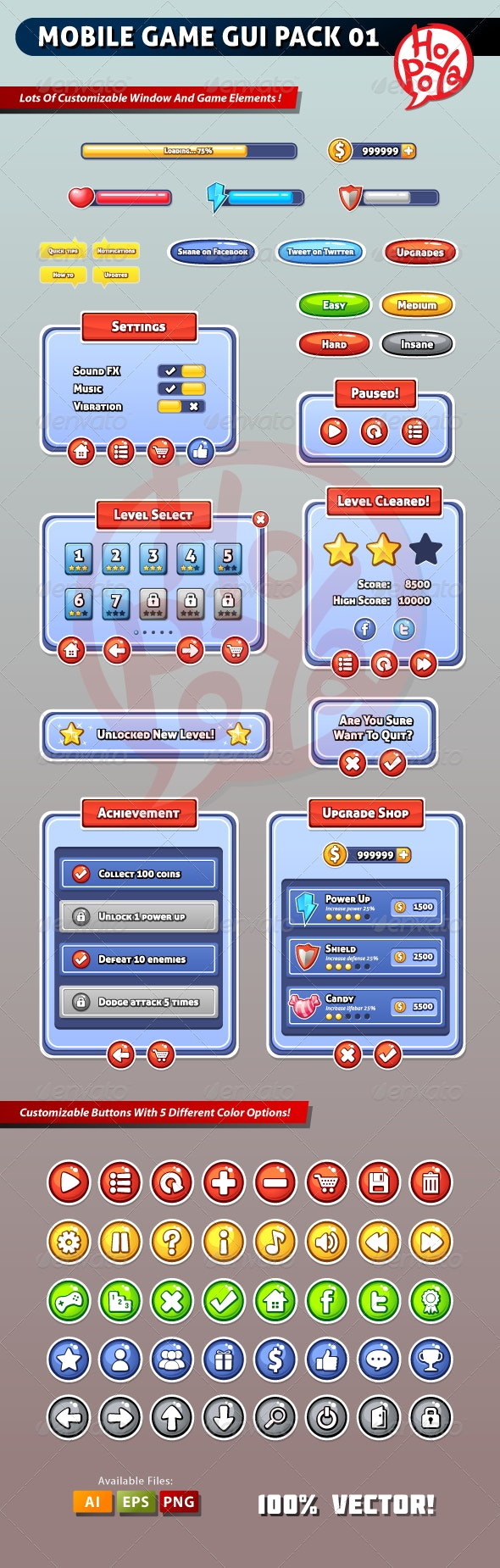 Mobile Game GUI Pack 01 - User Interfaces Game Assets