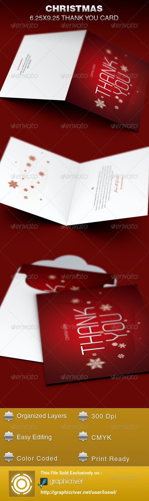 Christmas Thank You Card Template - Cards & Invites Print Templates