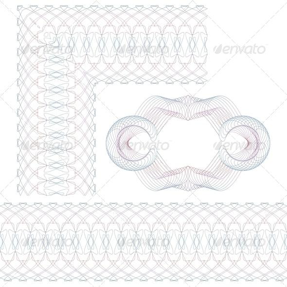 Set of Decorative Guilloche Elements - Borders Decorative
