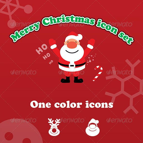 Vector Merry Christmas Icon Set with Santa
