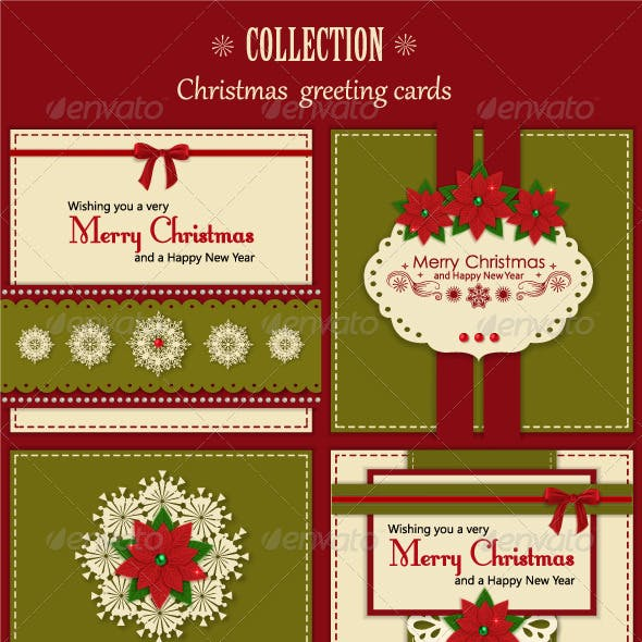 Set of Four Vintage Xmas Greeting Cards