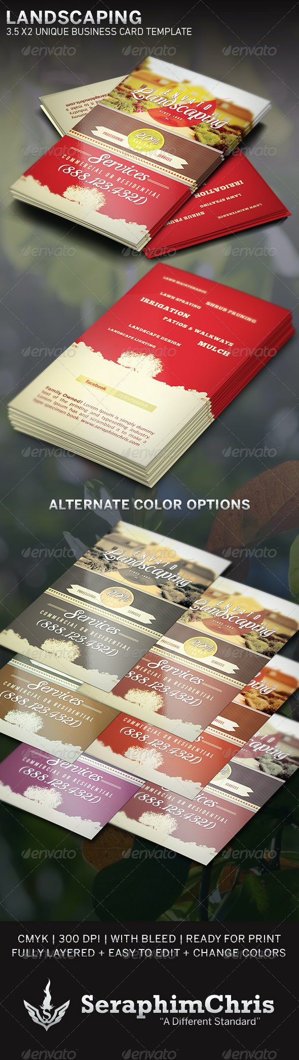Landscaping: Business Card Template - Industry Specific Business Cards
