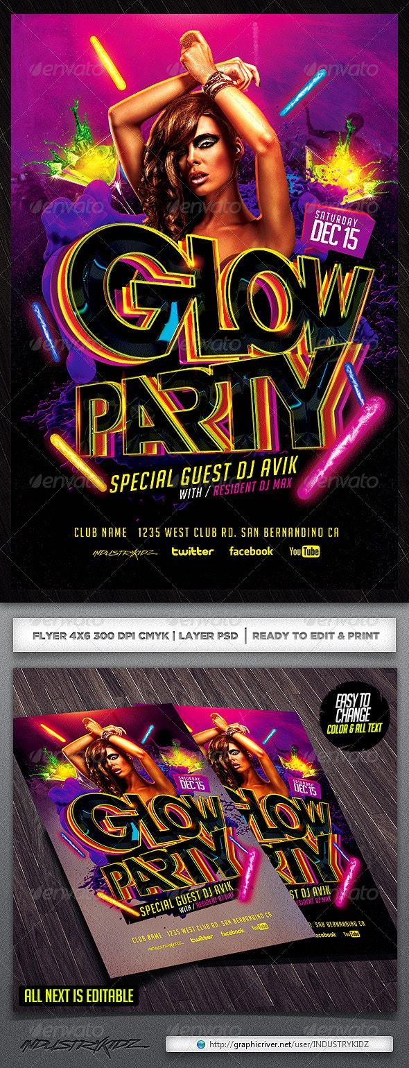 Glow Flyer Template - Clubs & Parties Events