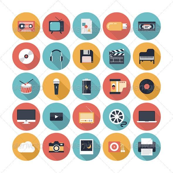 Multimedia Flat Icons Set - Media Icons