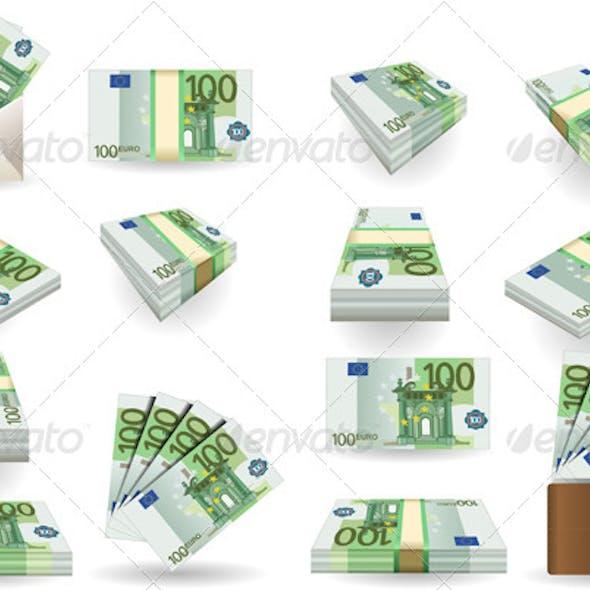 Full Set of Hundred Euros Banknotes