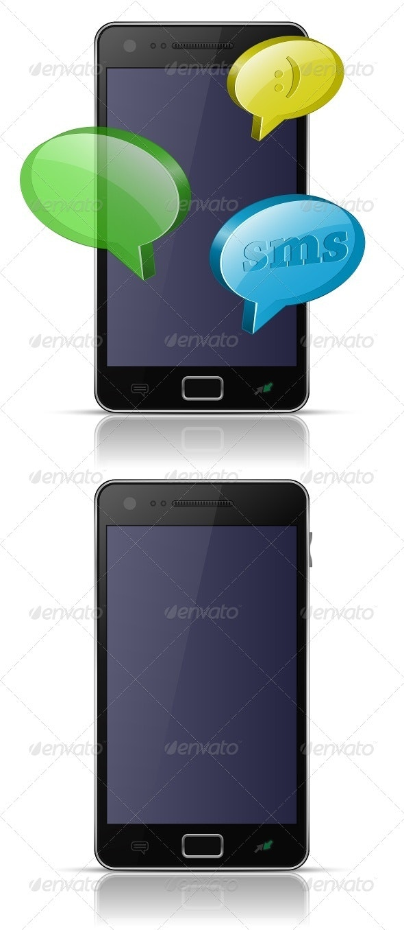 Modern Smartphone with Message Bubble - Communications Technology