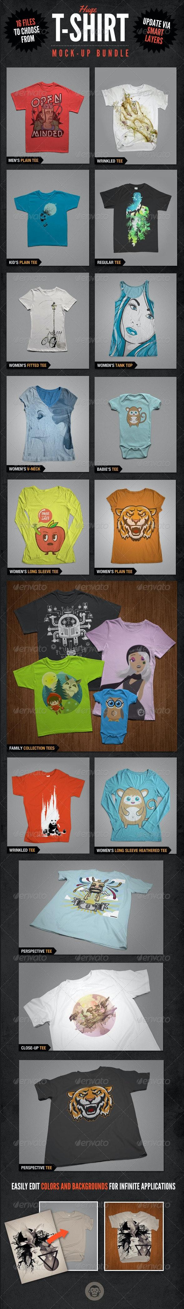 T-Shirt Mockups Bundle Pack - T-shirts Apparel