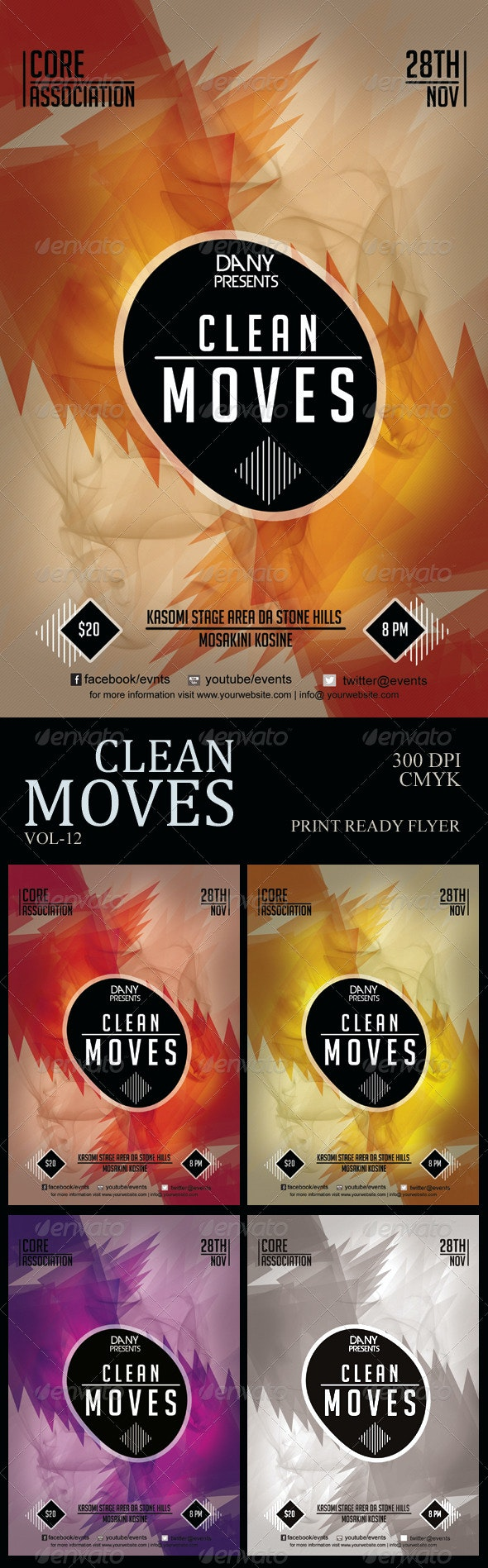 Clean Moves 12 Futuristic Flyer - Clubs & Parties Events