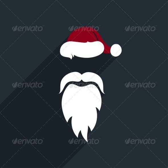 Flat Design Vector Santa Claus Face. Icon. Greetin