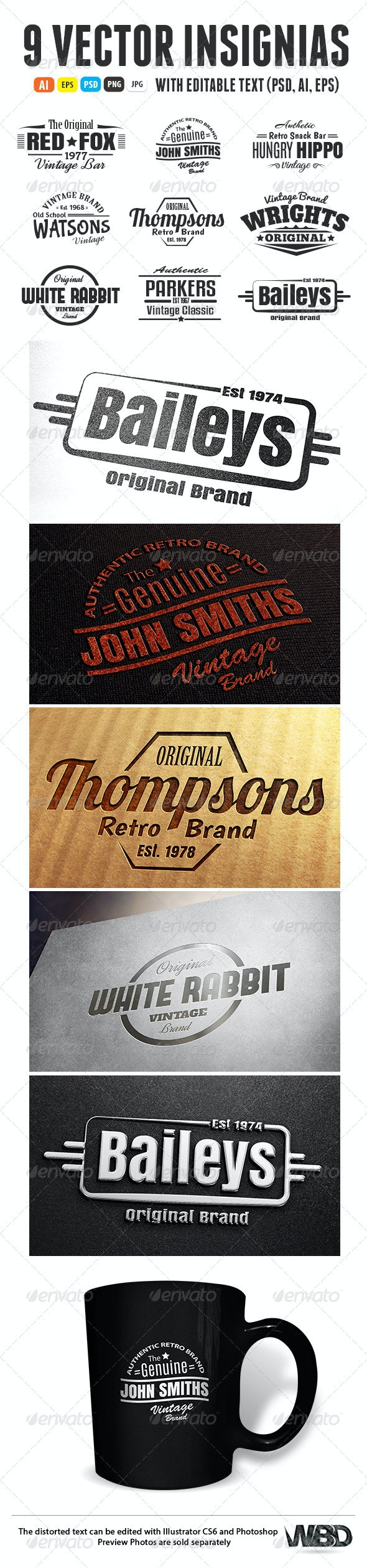 9 Vintage Retro Insignias - Badges & Stickers Web Elements