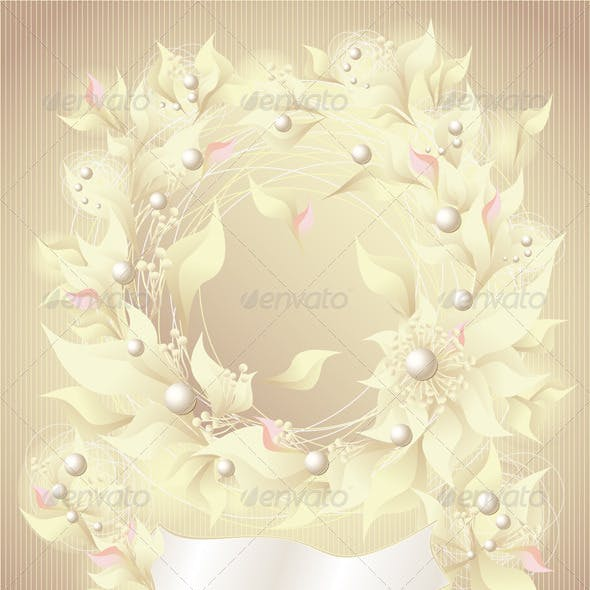 Background with flowers pearls petals and ribbon
