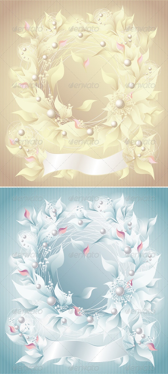 Background with flowers pearls petals and ribbon - Backgrounds Decorative