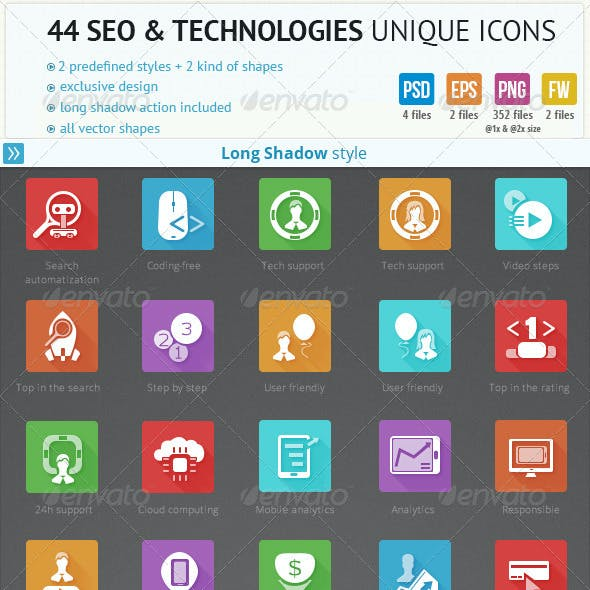 44 SEO and Technologies Unique Icons