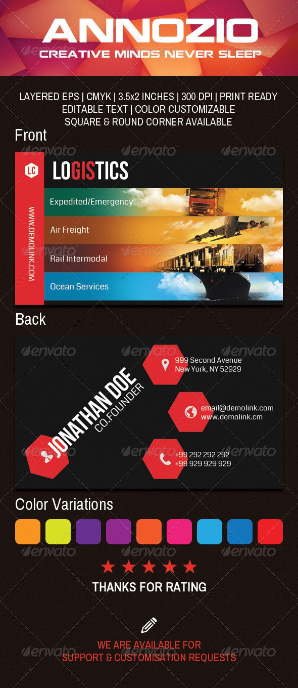 Logistics Company Business Card AN0042 - Industry Specific Business Cards