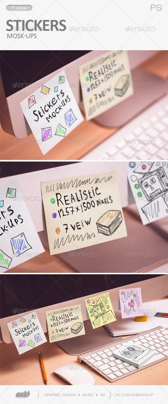 Stickers Mock-Ups - Product Mock-Ups Graphics
