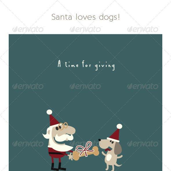 Santa Giving his Dog a Christmas Bone