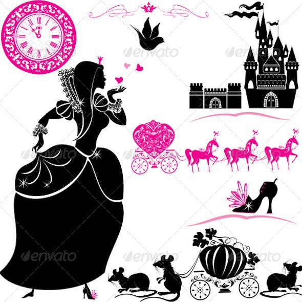 Fairytale Set Silhouettes of Cinderella
