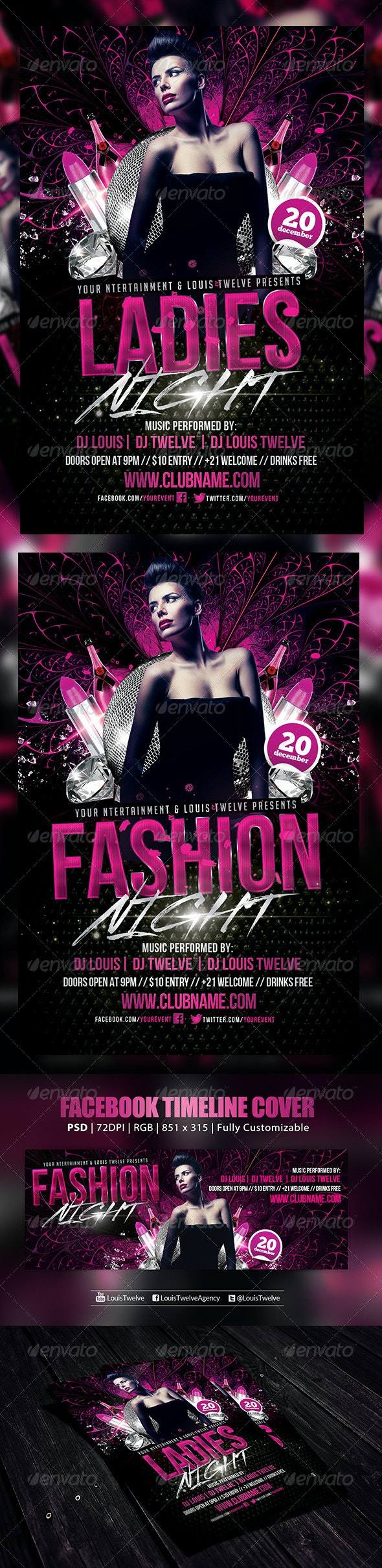 Ladies Night | Flyer + FB Cover - Clubs & Parties Events
