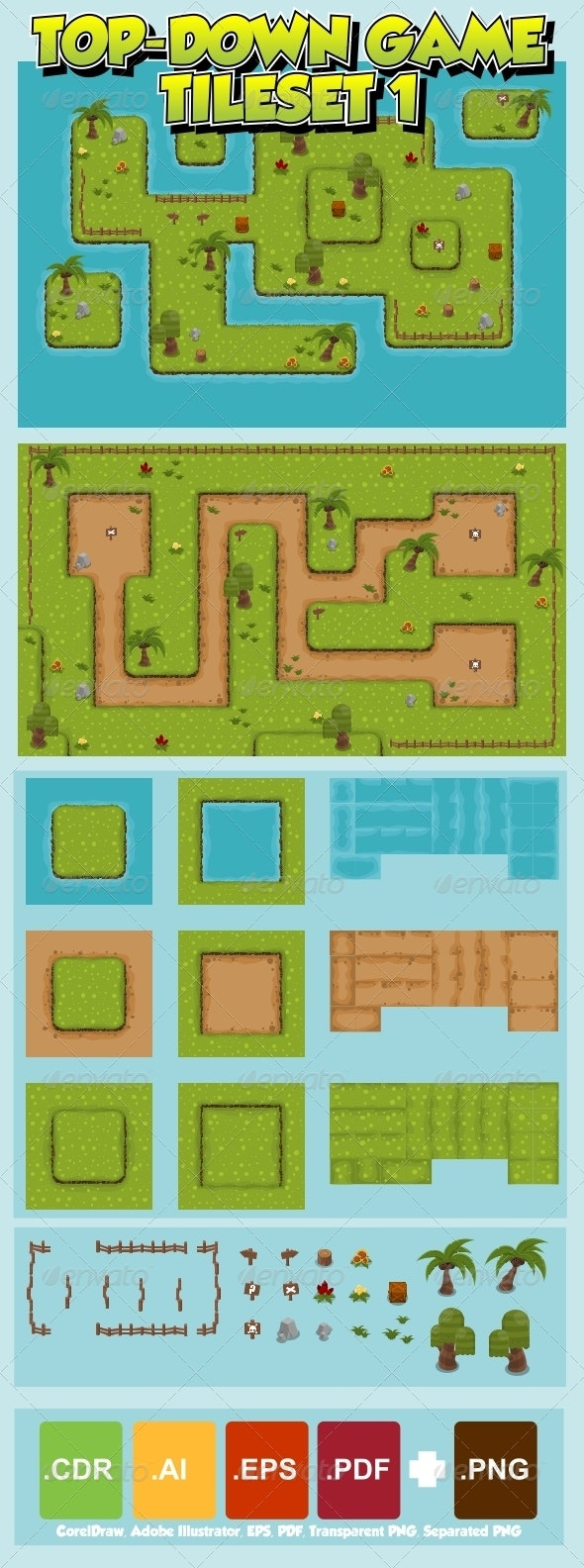 Top-Down Game Tileset 1 - Tilesets Game Assets