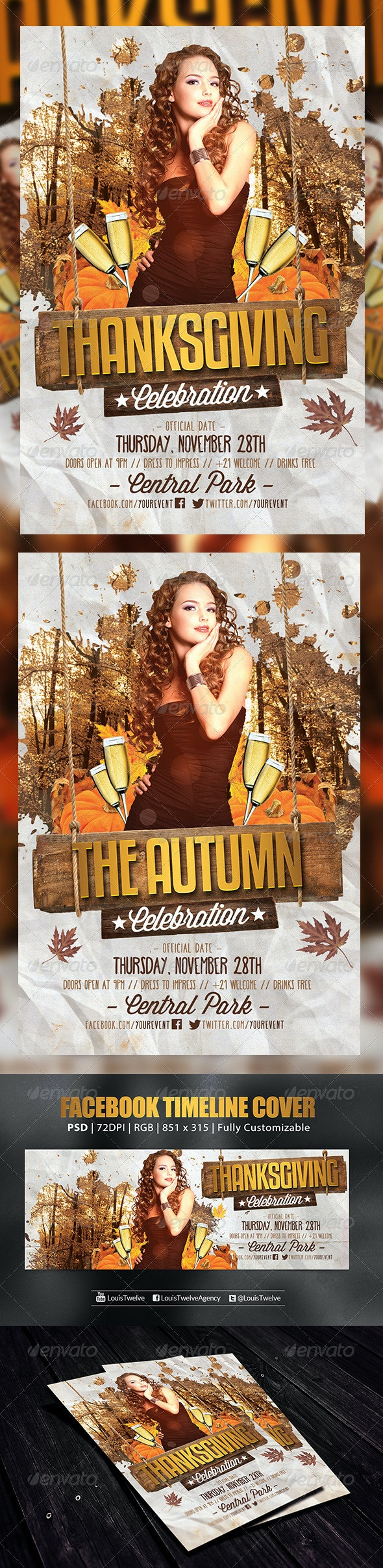 Thanksgiving or Autumn Party 3 | Flyer + FB Cover - Holidays Events