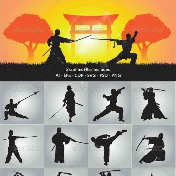 Wushu and Samurai Silhouette