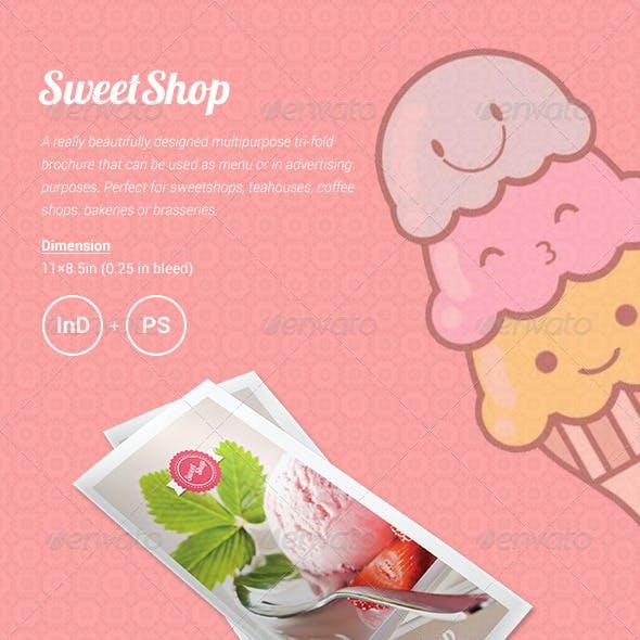 Sweet Shop Menu Tri-fold Brochure