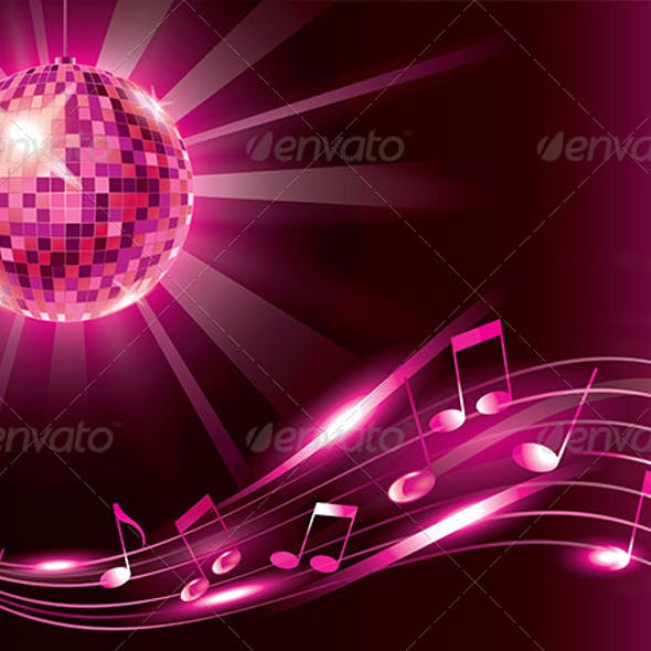Music Background with Disco Ball and Notes