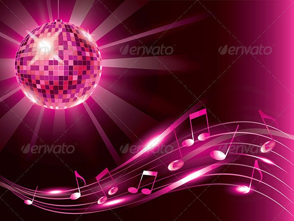 Music Background with Disco Ball and Notes - Miscellaneous Vectors