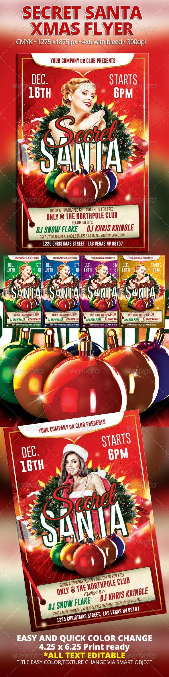 Secret Santa Xmas Flyer - Holidays Events